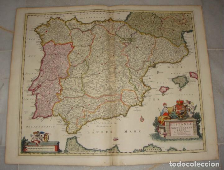 Arte: Mapa Grabado de España y Portugal. 1680. VISSCHER NICOLAS. Hispania et Portugalliae Regna. - Foto 2 - 140758750