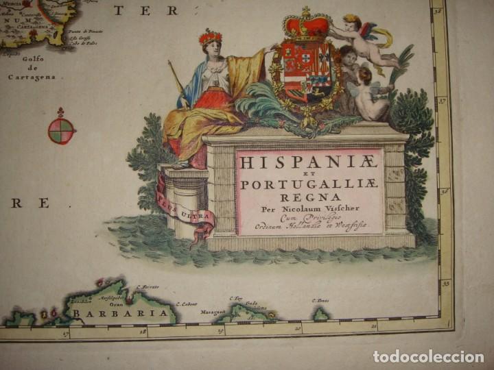 Arte: Mapa Grabado de España y Portugal. 1680. VISSCHER NICOLAS. Hispania et Portugalliae Regna. - Foto 3 - 140758750