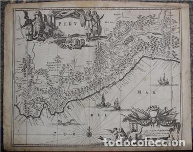 Arte: Mapa de Perú (América del Sur), 1671. Jonh Ogilby - Foto 2 - 141102038