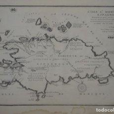 Arte: MAPA Y DESCRIPCIÓN DE LA ISLA DE SANTO DOMINGO (MAR CARIBE, AMÉRICA),1715. NICOLÁS DE FER. Lote 141442069