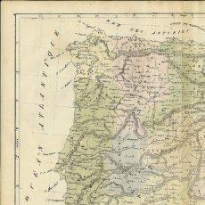 Arte: MAPA DE ESPAÑA Y PORTUGAL, 1838. SELVES. Lote 141507150