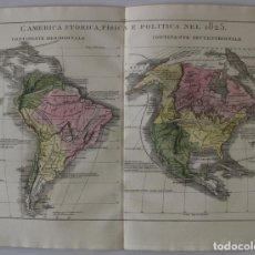 Arte: MAPA DE AMÉRICA DEL SUR Y NORTE EN 1825, 1832. GIROLAMOTASSO. Lote 141507906