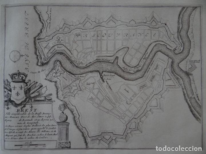 MAPA DE LA CIUDAD PORTUARIA DE BREST, BRETAÑA (FRANCIA), 1694. NICOLÁS DE FER (Arte - Cartografía Antigua (hasta S. XIX))