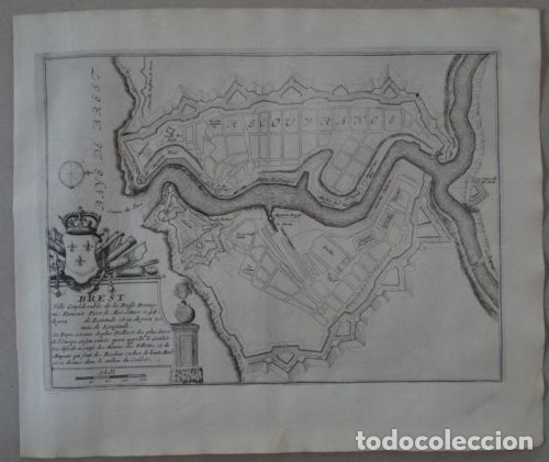 Arte: Mapa de la ciudad portuaria de Brest, Bretaña (Francia), 1694. Nicolás de Fer - Foto 2 - 141508696