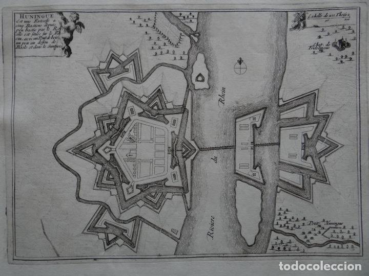 MAPA DE LA CIUDAD HÜNINGUEN (FRANCIA), 1694. NICOLÁS DE FER (Arte - Cartografía Antigua (hasta S. XIX))