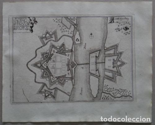 Arte: Mapa de la ciudad Hüninguen (Francia), 1694. Nicolás de Fer - Foto 2 - 141833761
