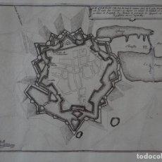 Arte: MAPA DE LA CIUDAD DE QUÉVY (BÉLGICA, EUROPA), 1694. NICOLÁS DE FER. Lote 141835050