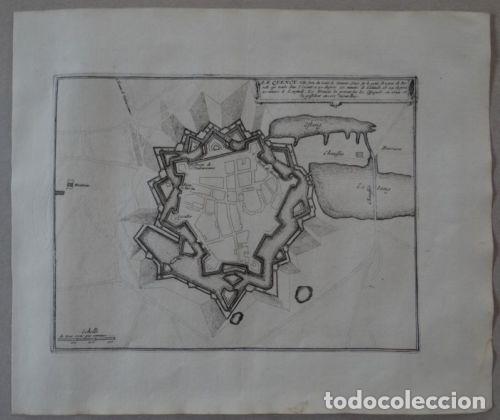 Arte: Mapa de la ciudad de Quévy (Bélgica, Europa), 1694. Nicolás de Fer - Foto 2 - 141835050