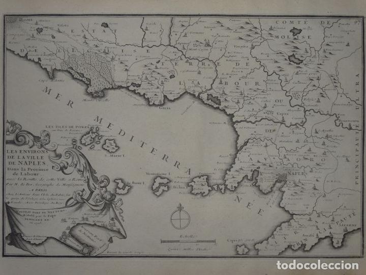 MAPA DE LOS ALREDEDORES DE LA CIUDAD DE NÁPOLES (ITALIA), 1705. NICOLÁS DE FER (Arte - Cartografía Antigua (hasta S. XIX))