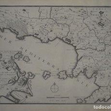 Arte: MAPA DE LOS ALREDEDORES DE LA CIUDAD DE NÁPOLES (ITALIA), 1705. NICOLÁS DE FER. Lote 142314953