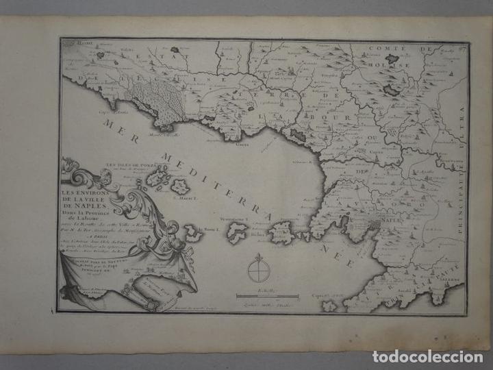 Arte: Mapa de los alrededores de la ciudad de Nápoles (Italia), 1705. Nicolás de Fer - Foto 2 - 142314953