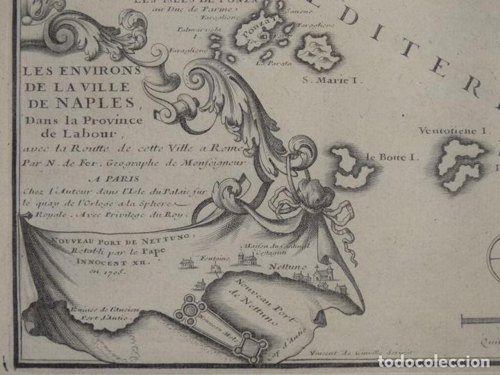 Arte: Mapa de los alrededores de la ciudad de Nápoles (Italia), 1705. Nicolás de Fer - Foto 3 - 142314953