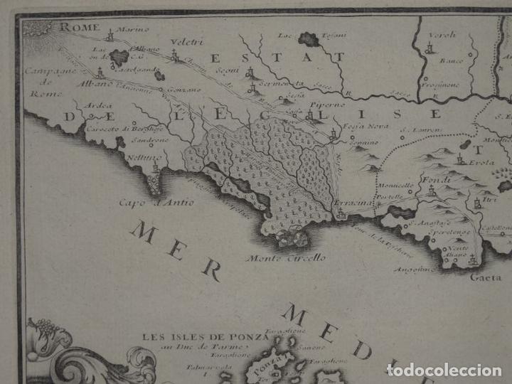 Arte: Mapa de los alrededores de la ciudad de Nápoles (Italia), 1705. Nicolás de Fer - Foto 4 - 142314953