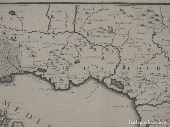 Arte: Mapa de los alrededores de la ciudad de Nápoles (Italia), 1705. Nicolás de Fer - Foto 5 - 142314953