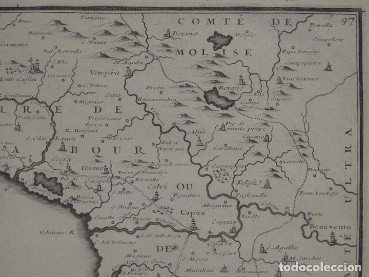 Arte: Mapa de los alrededores de la ciudad de Nápoles (Italia), 1705. Nicolás de Fer - Foto 6 - 142314953