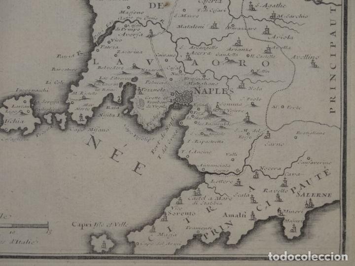 Arte: Mapa de los alrededores de la ciudad de Nápoles (Italia), 1705. Nicolás de Fer - Foto 7 - 142314953