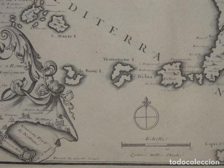 Arte: Mapa de los alrededores de la ciudad de Nápoles (Italia), 1705. Nicolás de Fer - Foto 8 - 142314953