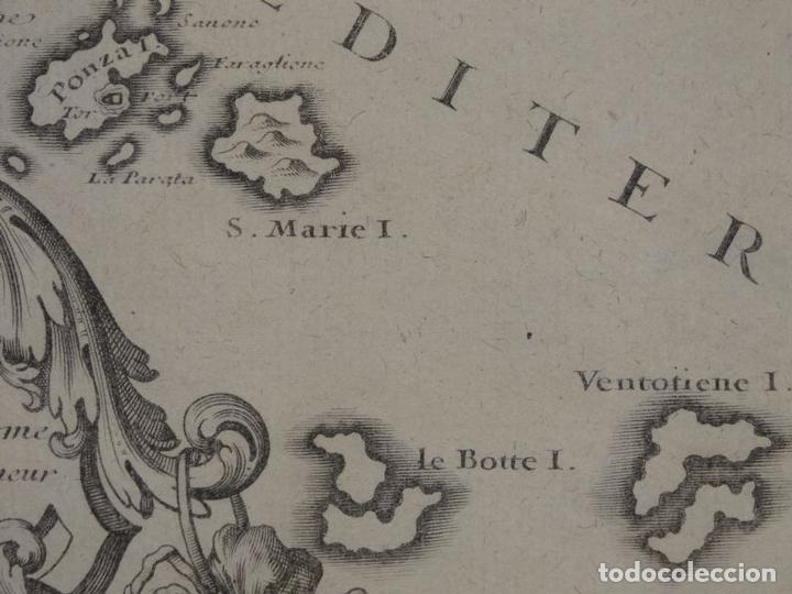 Arte: Mapa de los alrededores de la ciudad de Nápoles (Italia), 1705. Nicolás de Fer - Foto 9 - 142314953