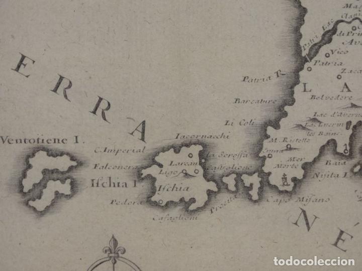Arte: Mapa de los alrededores de la ciudad de Nápoles (Italia), 1705. Nicolás de Fer - Foto 11 - 142314953