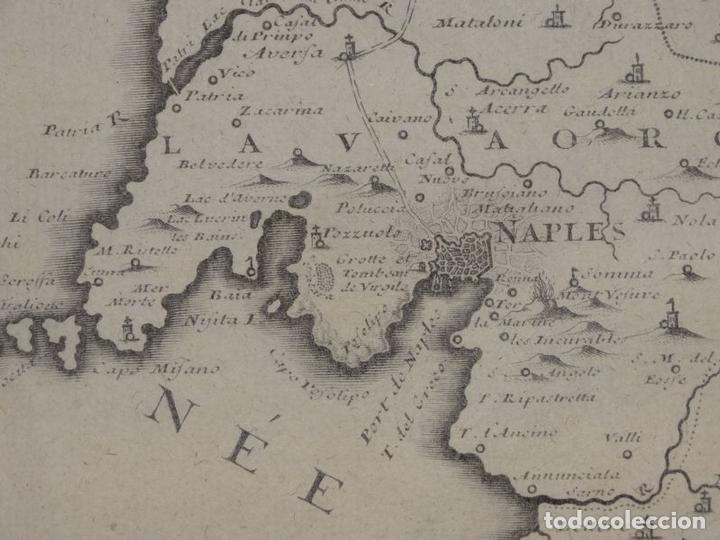 Arte: Mapa de los alrededores de la ciudad de Nápoles (Italia), 1705. Nicolás de Fer - Foto 12 - 142314953