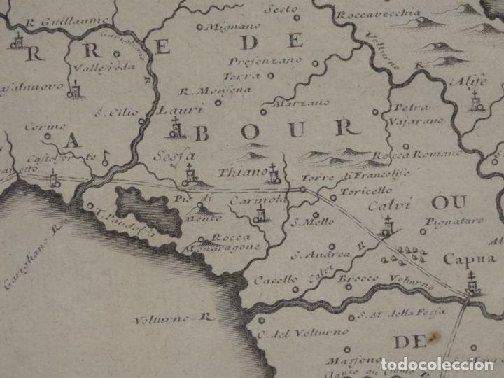 Arte: Mapa de los alrededores de la ciudad de Nápoles (Italia), 1705. Nicolás de Fer - Foto 13 - 142314953