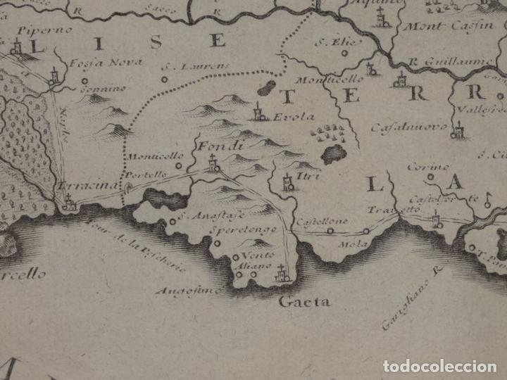 Arte: Mapa de los alrededores de la ciudad de Nápoles (Italia), 1705. Nicolás de Fer - Foto 14 - 142314953