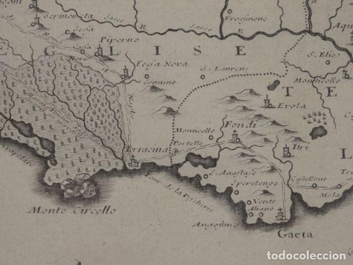 Arte: Mapa de los alrededores de la ciudad de Nápoles (Italia), 1705. Nicolás de Fer - Foto 15 - 142314953