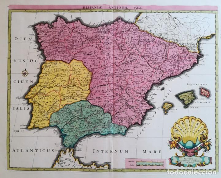 MAPA ESPAÑA Y PORTUGAL - HISPANIAE ANTIQUAE - COVENS MORTIER SANSON - AÑO 1720 - GRAN FORMATO (Arte - Cartografía Antigua (hasta S. XIX))