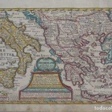 Arte: MAPA DE GRECIA E ITALIA, HACIA 1720. SCHREIBER. Lote 143102777