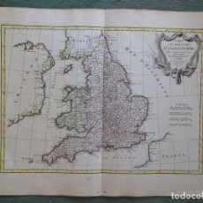 Arte: MAPA DE INGLATERRA (REINO UNIDO), 1771. BONNE/LATTRE. Lote 143214182