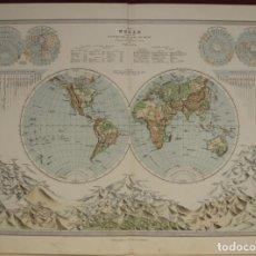 Arte: MAPA DEL MUNDO Y LAS MONTAÑAS, 1886. BARTHOLOMEW Y EDIN. Lote 143328118