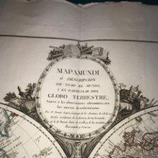 Arte: MAPAMUNDI Ó DESCRIPCION DE TODO EL MUNDO. TOMÁS LÓPEZ (1771). ACUARELADO, PERFECTO ESTADO. Lote 143415842