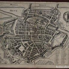 Arte: MAPA Y PLANIMETRÍA DE LA CIUDAD DE METZ (FRANCIA), 1655. MERIAN. Lote 143541042