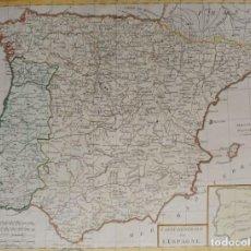 Arte: ESPAÑA & PORTUGAL, MAPA GRANDE POR TARDIEU, 1798, CARTE GENERALE DE L'ESPAGNE. Lote 143689110