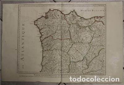Arte: Gran mapa del norte de Portugal y Galicia, Asturias, León, ... (España), 1778. Jaillot /Dezauche - Foto 2 - 143943665