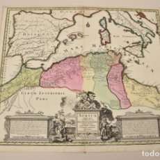 Arte: GRAN MAPA DE ÁFRICA DEL NORTE Y MAR MEDITERRANEO (EUROPA), 1720. SEUTTER. Lote 144565908