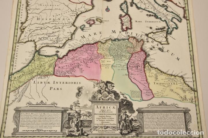 Arte: Gran mapa de África del norte y mar Mediterraneo (Europa), 1720. Seutter - Foto 2 - 144565908