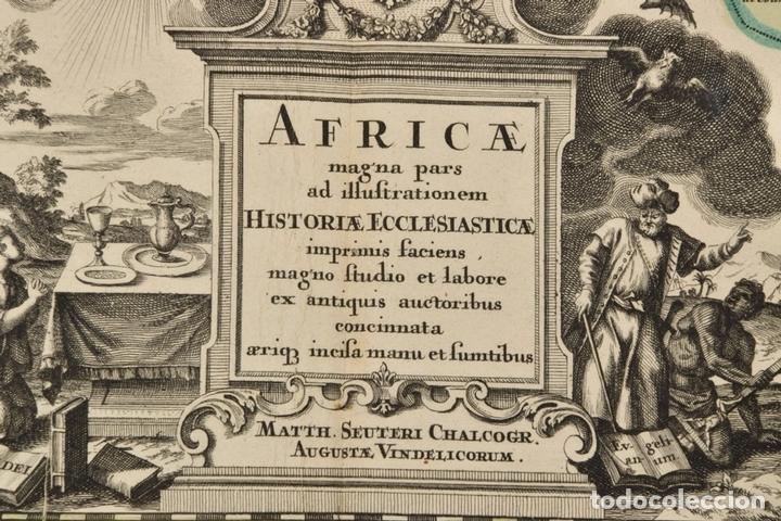 Arte: Gran mapa de África del norte y mar Mediterraneo (Europa), 1720. Seutter - Foto 3 - 144565908