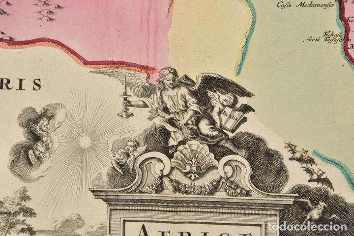 Arte: Gran mapa de África del norte y mar Mediterraneo (Europa), 1720. Seutter - Foto 4 - 144565908