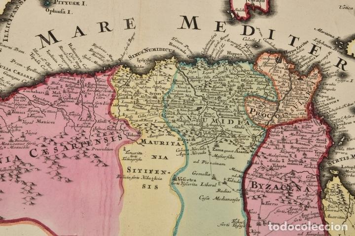 Arte: Gran mapa de África del norte y mar Mediterraneo (Europa), 1720. Seutter - Foto 7 - 144565908