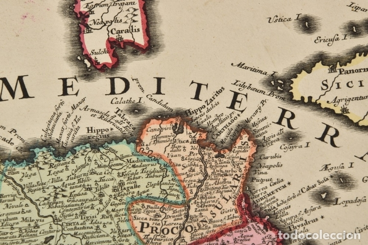 Arte: Gran mapa de África del norte y mar Mediterraneo (Europa), 1720. Seutter - Foto 8 - 144565908
