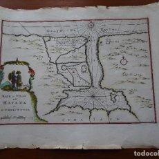 Arte: CUBA, LA HABANA 1702, BAYE ET VILLE DE HAVANA OU S CHRISTOVAL, COLOREADO A MANO, 38 X 29 CM APROX. Lote 144627294