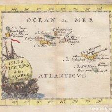 Arte: MAPA DE LAS ISLAS AZORES (OCÉANO ATLÁNTICO, PORTUGAL), 1661. PIERRE DU VAL. Lote 145193198