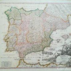 Arte: MAPA DE ESPAÑA Y PORTUGAL - GUERRA DE SUCESION - AÑO 1720 - HOMMAN. Lote 146240402