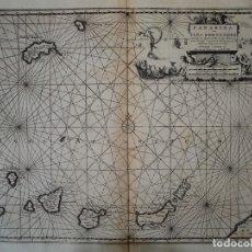 Arte: CARTA NÁUTICA DE LAS ISLAS CANARIAS (ESPAÑA) Y MADEIRA (PORTUGAL), 1727. VAN DER AA/MANDELSLO. Lote 146721834