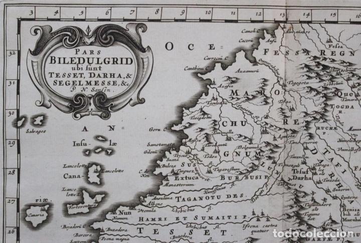 Arte: Mapa del noroeste de África e Islas Canarias (España), 1656. Sanson - Foto 2 - 146772721