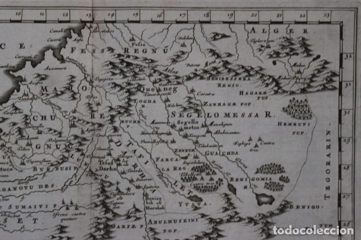 Arte: Mapa del noroeste de África e Islas Canarias (España), 1656. Sanson - Foto 3 - 146772721