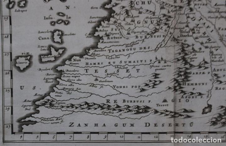 Arte: Mapa del noroeste de África e Islas Canarias (España), 1656. Sanson - Foto 4 - 146772721