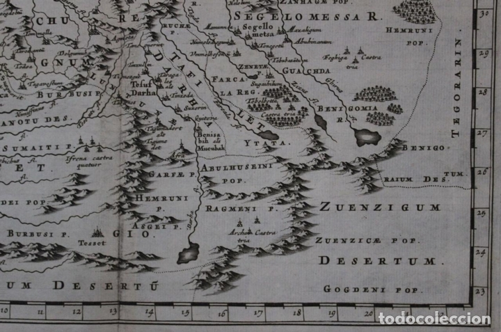 Arte: Mapa del noroeste de África e Islas Canarias (España), 1656. Sanson - Foto 5 - 146772721