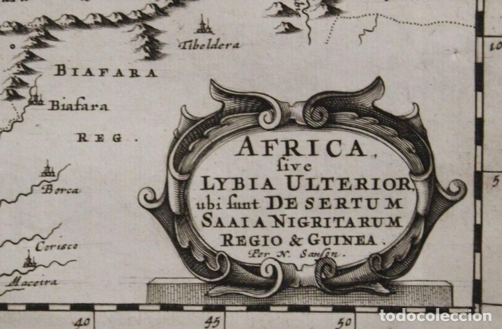 Arte: Mapa del occidente de África e Islas Canarias (España), 1656. Sanson - Foto 2 - 146776745
